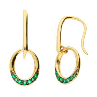9ct Yellow Gold Emerald Oval Drop Earrings