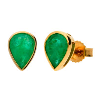 9ct Yellow Gold 7mm Emerald Solitaire Pear Shape Stud Earrings