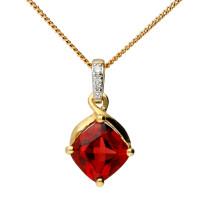 9ct Yellow Gold Garnet & Diamond Pendant