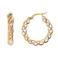 9ct Yellow, Rose & White Gold 23mm Twist Hoop Earrings