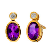 9ct Yellow Gold 6mm Amethyst & Diamond Oval Shape Stud Earrings