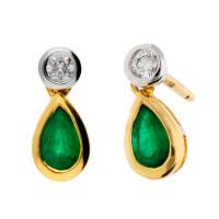 18ct Yellow Gold 0.35ct Emerald & 0.10ct Diamond Fancy Earrings