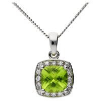 9ct White Gold Peridot & Diamond Halo Pendant