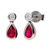 18ct White Gold Ruby & Diamond Fancy Earrings