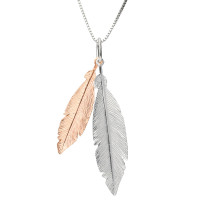 Sterling Silver & Rose Gold Plated Double Feather Pendant