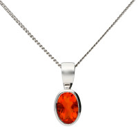9ct White Gold 6mm Fire Opal Solitaire Oval Shape Pendant