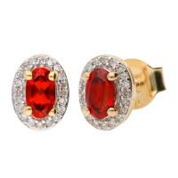 9ct Yellow Gold Garnet & Diamond Cluster Earrings