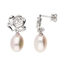Sterling Silver Rose Stud Pearl Drop Earrings