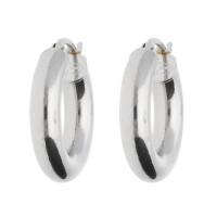 18ct White Gold 17mm Tube  Hinged Hoop Earrings