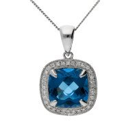 9ct White Gold 3.50cts London Topaz & Diamond Cluster Pendant