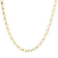 9ct Yellow Gold 2.35mm Maxibel Filed Belcher Chain Necklace