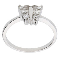 9ct White Gold 0.15ct Diamond Butterfly Ring
