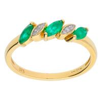 9ct Yellow Gold 0.25ct Emerald & 0.05ct Diamond Dress Ring