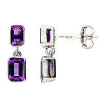 9ct White Gold Rectangular Shape Amethyst Double Drop Earrings