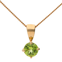 9ct Yellow Gold 5mm Peridot Solitaire Round Shape Pendant