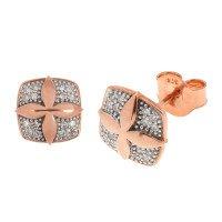 9ct Rose Gold Diamond Cross Design Earrings