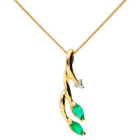 9ct Yellow Gold Emerald & Diamond Pendant