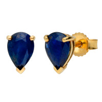 9ct Yellow Gold 1.50ct Pear Sapphire Solitaire Stud Earrings