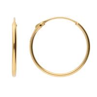 9ct Yellow Gold 14mm Sleeper Hoop Earrings