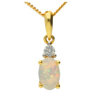 18ct Yellow Gold 0.30ct Opal & Diamond Fancy Pendant