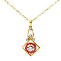 Art Deco 18ct Gold 0.30ct Diamond & Ruby Pendant