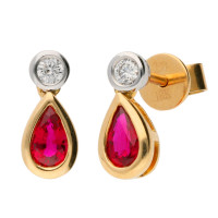 18ct Yellow Gold Ruby & Diamond Fancy Earrings