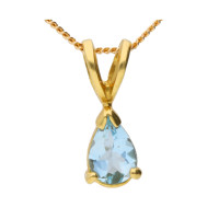 18ct Yellow Gold 0.35ct Pear Aquamarine Solitaire Pendant