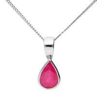 9ct White Gold 0.85ct Pear Ruby Solitaire Pendant