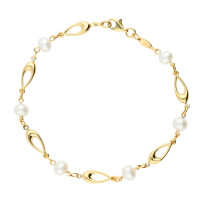 9ct Yellow Gold Pearl Bracelet