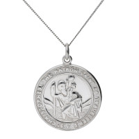 9ct White Gold St Chrstopher Pendant