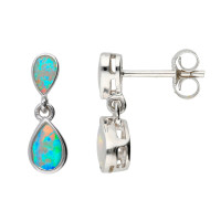 9ct White Gold Opal Double Drop Pear Shape Earrings