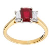 18ct Yellow & White Gold Ruby & Diamond Trilogy Dress Ring