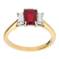 18ct Yellow & White Gold Ruby & Diamond Trilogy Dress Ring