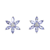 9ct White Gold Tanzanite & Diamond Floral Cluster Earrings