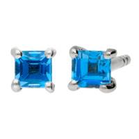 9ct White Gold 0.30ct Square Aquamarine Stud Solitaire Earrings
