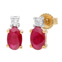 9ct Yellow & White Gold 6mm Ruby & Diamond Oval Shape Stud Earrings