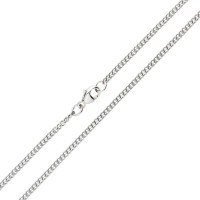 9ct White Gold 2.11mm Filed Curb Chain Necklace