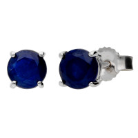 9ct White Gold 1.50ct Round Sapphire Solitaire Stud Earrings
