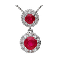 18ct White Gold Ruby & Diamond Double Cluster Pendant