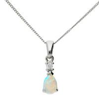 9ct White Gold 6mm Opal & Diamond Pear Shape Pendant