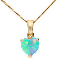 9ct Yellow Gold 6mm Opal Solitaire Heart Shape Pendant
