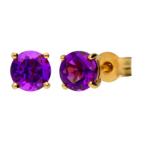 9ct Yellow Gold 5mm Amethyst Solitaire Round Shape Stud Earrings