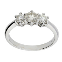 18ct White Gold Certified 0.78ct Diamond Trilogy Ring