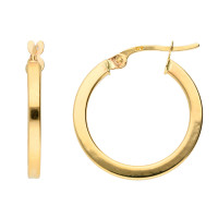 9ct Yellow Gold 19mm Square Edged Hoop Earrings