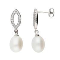 Sterling Silver, Cubic Zirconia & Pearl Drop Earrings