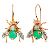 Handcrafted Italian 1.60ct Emerald, Pearl & 0.10ct Diamond Bee Drop Earrings