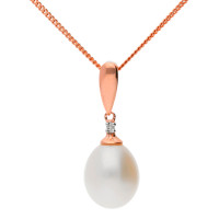 9ct Rose Gold Freshwater Pearl & Diamond Pendant
