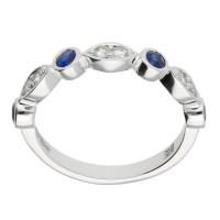 18ct White Gold Sapphire & Diamond Fancy Half Eternity Ring