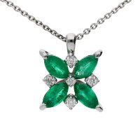 18ct White Gold 0.55ct Emerald & 0.10ct Diamond Flower Pendant