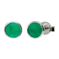 9ct White Gold 0.95ct Round Emerald Solitaire Stud Earrings